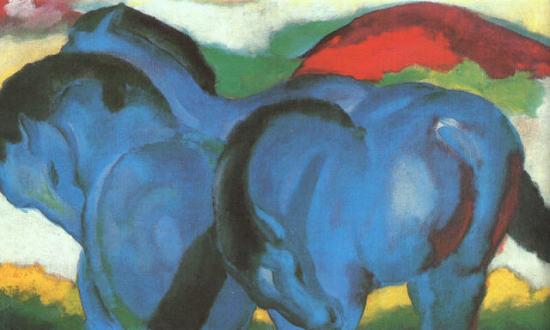 Little Blue Horses by Franz Marc: Little Blue Horses by Franz Marc