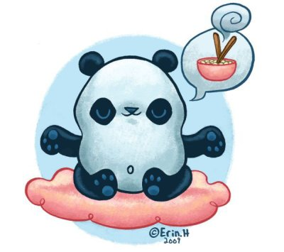 Panda San by Hunting: Pandas delve into the core of there being when they meditate. Panda art by Erin Huntin.