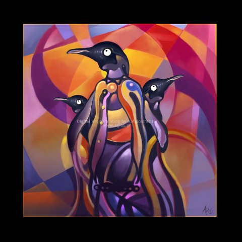 Penguins by Agios: A trio of penguins looking regal. Penguin art of Agios