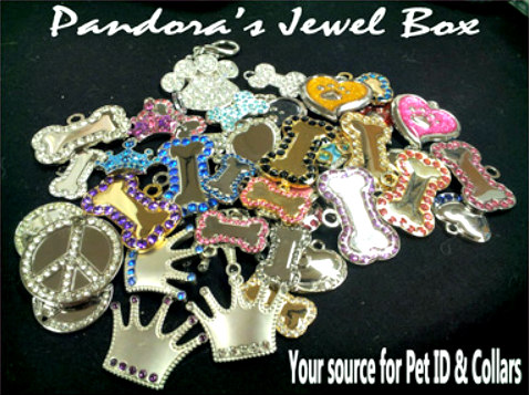 Pet ID Tags with Bling: Pandora's Jewel Box offers great choices for pet bling