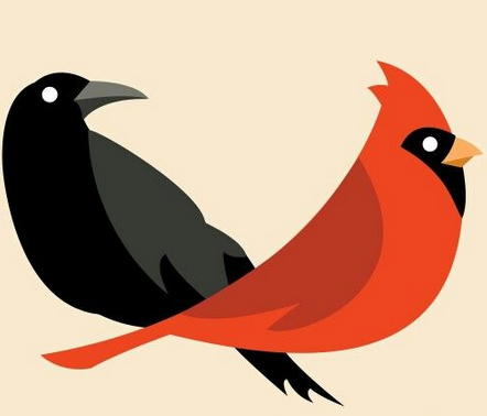 crows and cardinals