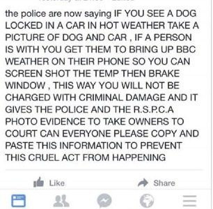 Post circulating on Facebook