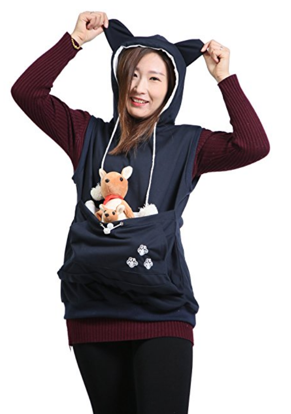 Keep Your Friends Close And Your Pets Closer Pet Carrying - Hoodie with kangaroo pouch is the perfect cat accessory