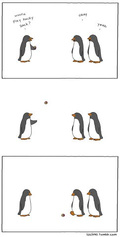 Short Legs by Climo: Penguins Playing Hacki Sac by Climo