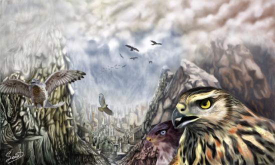 The Hawks Crossing by Agios: Some epic hawk art by Angelos Agiostratitis