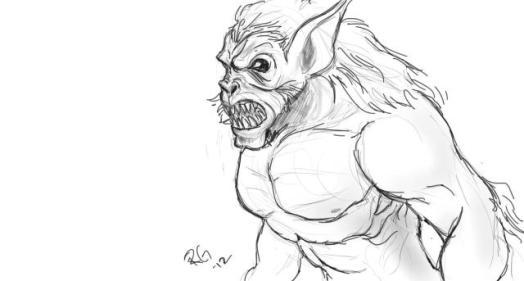 Drawing of a Wendigo by Rich Graysonn (c)2012. Used by permission.