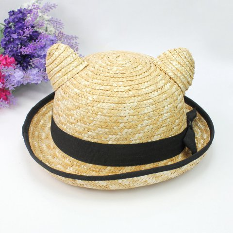 Vintage Straw Derby with Cat Ears