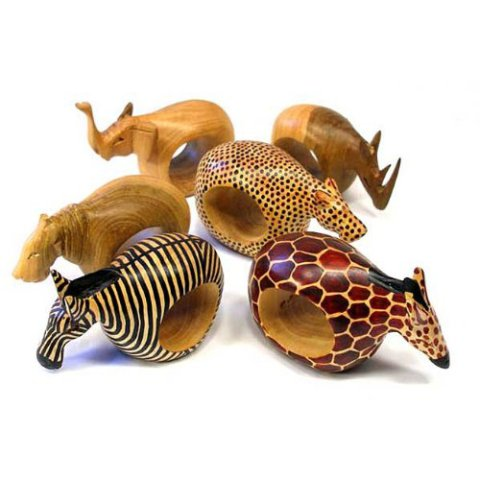 Hand-Carved African Animal Napkin Rings