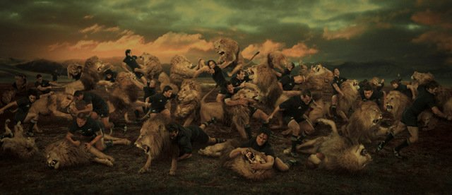 Backs vs Lions: Anima Art by Brown: A very detailed piece featuring a lot of animal action.