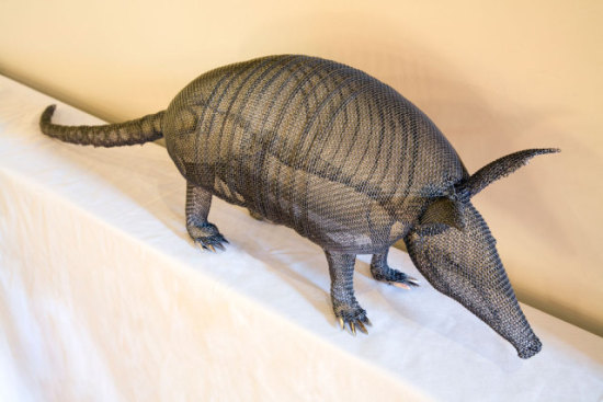 Armadillo by Roth: Armadillo animal art, sculpted wire by Roth.