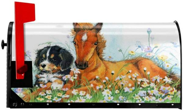 Horse and Dog Mailbox Cover