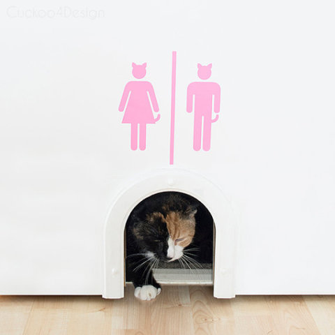 A really cute touch would be to add a decal to add a fun touch to the top of the cat door like this one. You can buy the cute litterbox decal on Etsy. & 10 Truly Amazing Cat Doors And Entryways | Petslady.com Pezcame.Com