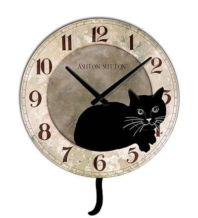 Cat Wall Clock With Pendulum Tail