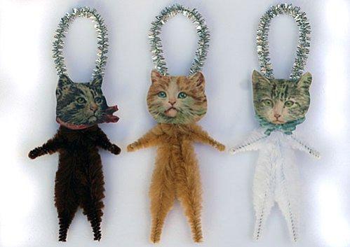 Old World Primitives hand-made Cat Ornaments: © Old World Primitives