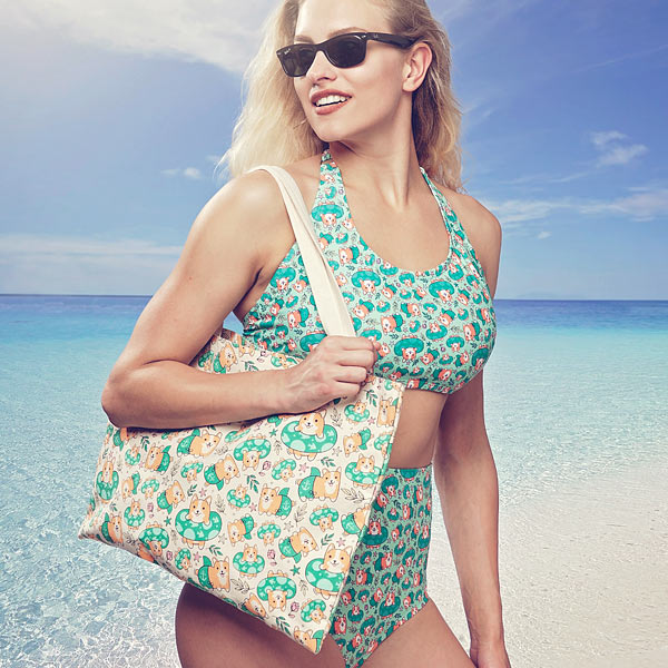 Corgi Beach Party Tote and Swimsuit