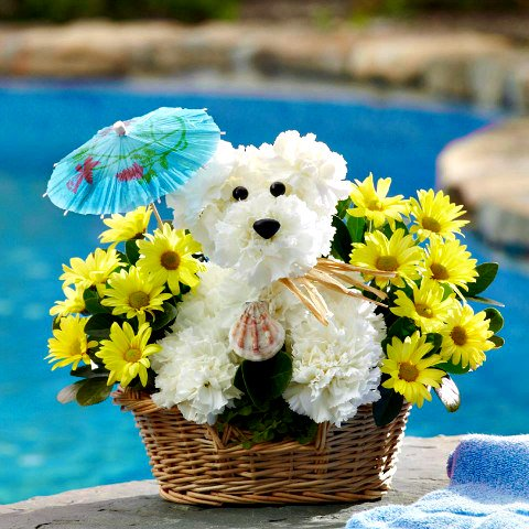 Adorable Doggy Flower Baskets Come in Many Designs: Dog made from carnations  (image via 1800flowers Facebook)