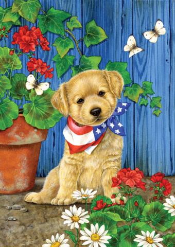 Toland Patriotic Puppy Flag