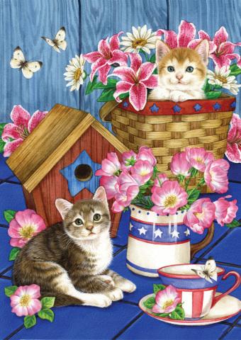 Toland Patriotic Kittens Flag