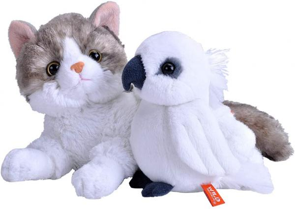 Unlikely Animal Friends Plush -- Cat and Cockatoo