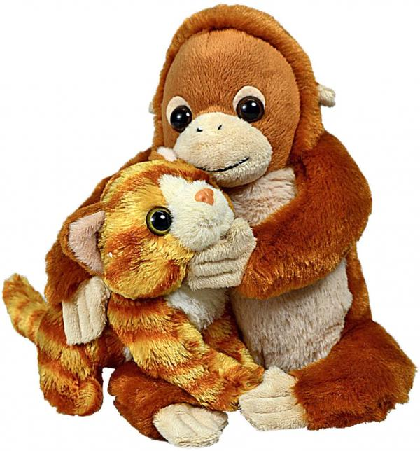 Unlikely Animal Friends Plush -- Orangutan and Cat