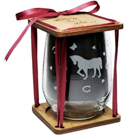 Horse Engraved Stemless Wine Glass