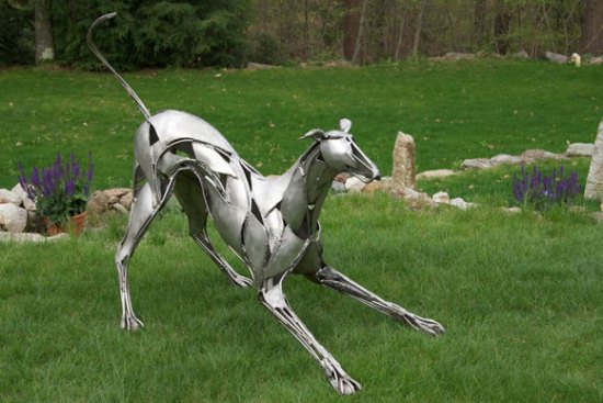 Greyhound Memorial by Williams: This greyhound memorial was intended to capture the playfulness of a family's dog.