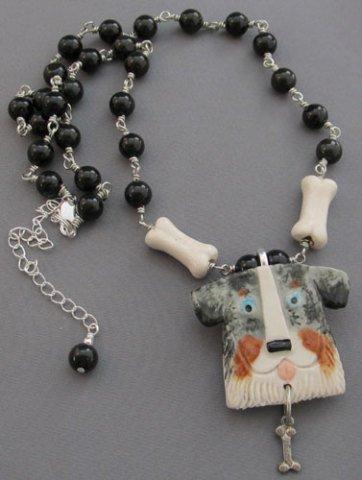 Australian Shephard porcelain pin/necklace: For Love Of A Dog