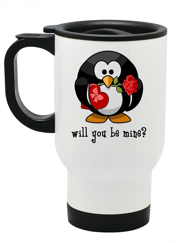 Valentine Penguin Travel Mug