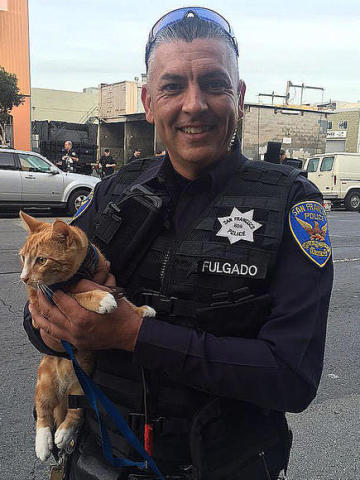 Hero cat with Officer Fulgado of the San Francisco Police