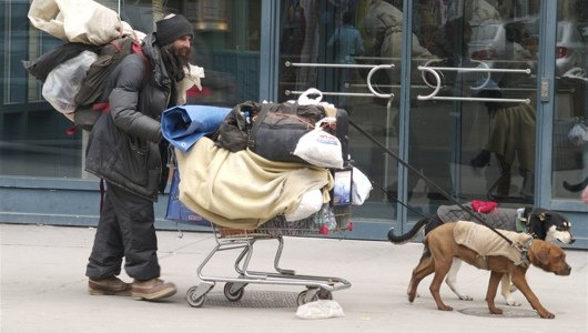 Pets of homeless persons provide companionship and warmth to their owners: image via mnn.com