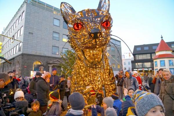 Iceland's Creepy Christmas Cat Is Ready To Rock Reykjavik