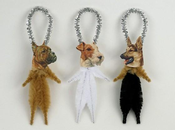 Old World Primitives hand-made Dog Ornaments: © Old World Primitives
