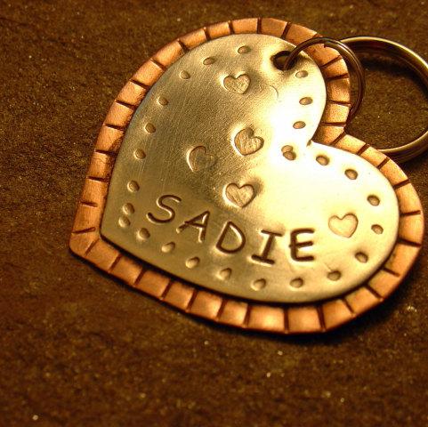 Handmade metal ID tag - I Heart My Pup: by Doggone Tags @ Etsy.com