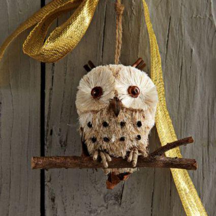 Bottle Brush Owl Ornament