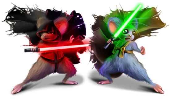 Jedi by Anntema: Space mice art of Anntema.