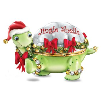 Limoges-Style Turtle Holiday Music Box