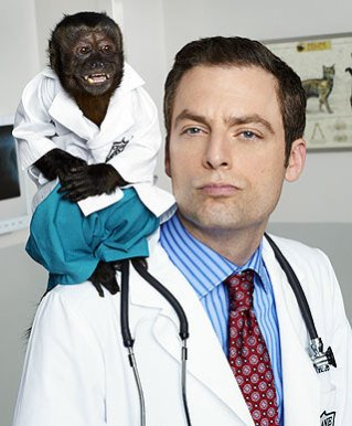 Justin Kirk (and monkey) in NBC's Fall comedy, Animal Practice: image via blog.zap2it.com