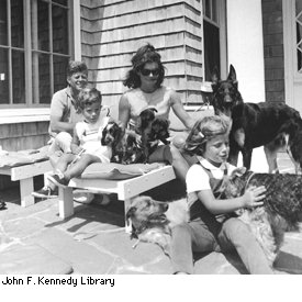 President Kennedy and his family with just some of their pets!: image via presidentialpetmuseum.com