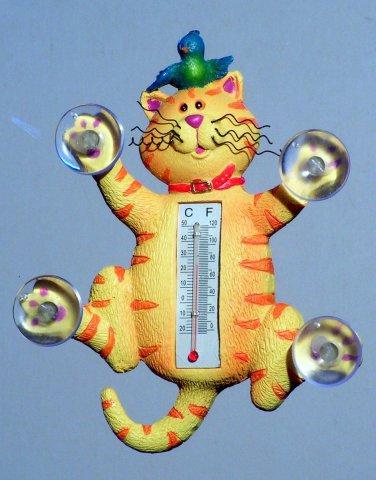 Crashing Cat Window Thermometer