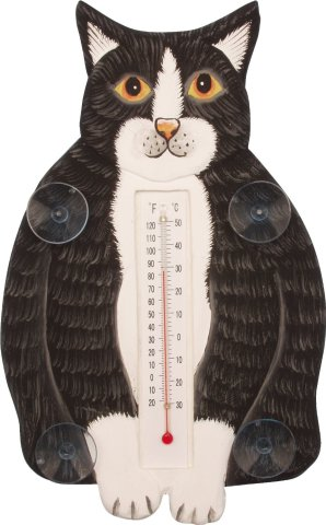 Black and White Fat Cat Thermometer
