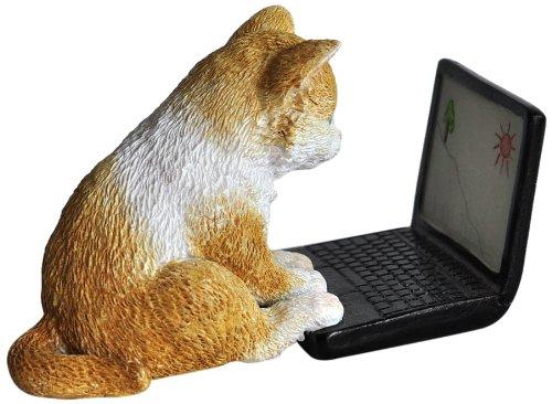 Kitten Surfing the Web Statue