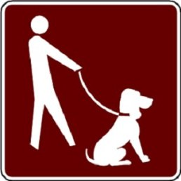 Dogs must be leashed sign