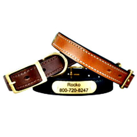 English Bridle Leather Dog Collars with Personalized Nameplates: Skip the tags and get a personalized nameplate for pets through DogIDs