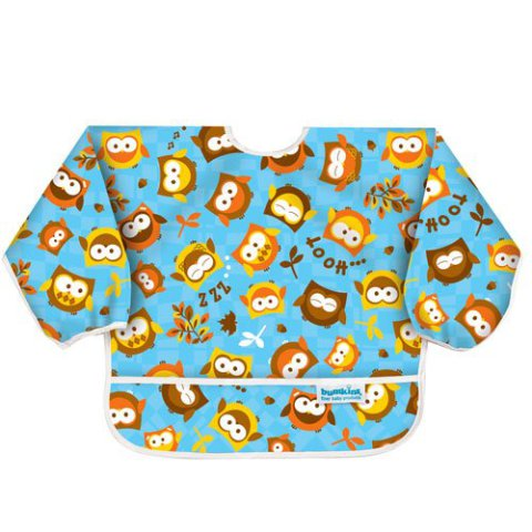 Bumkins Sleeved Bib - Blue Owl