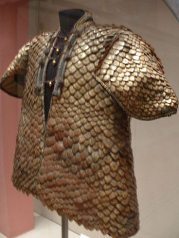 A coat of armor made from pangolin scales presented to King George III in 1820
