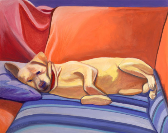 Pleasant Dreams by Daleo: This sleepy pooch makes me want to nap! Dog art by Nancy Daleo.