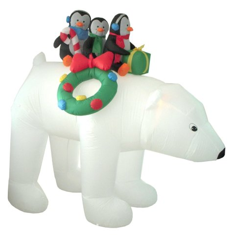 Inflatable Polar Bear with Penguins