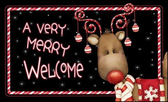 Candy Cane Reindeer Door Mat