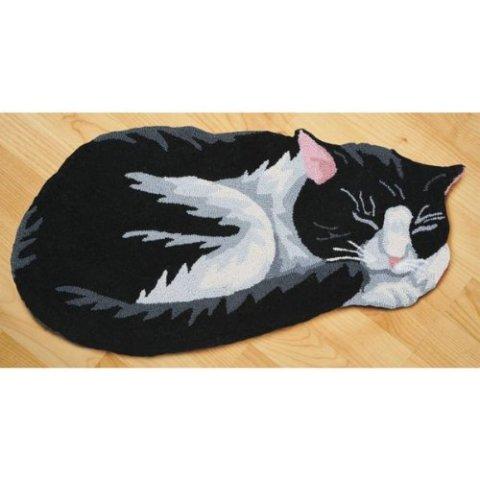 Sleeping Cat Area Rugs -- Tuxedo Cat