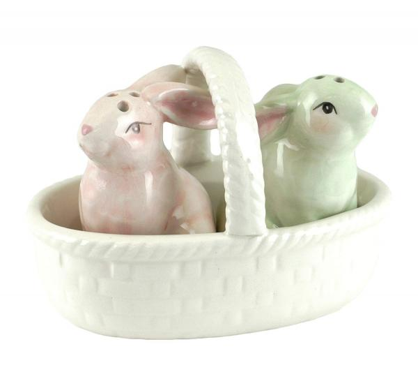 Easter Pastel Bunnies Salt and Pepper Shaker Set